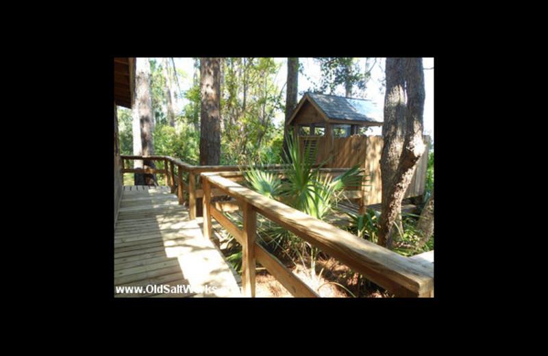 Cabin deck at Old Saltworks Cabins.