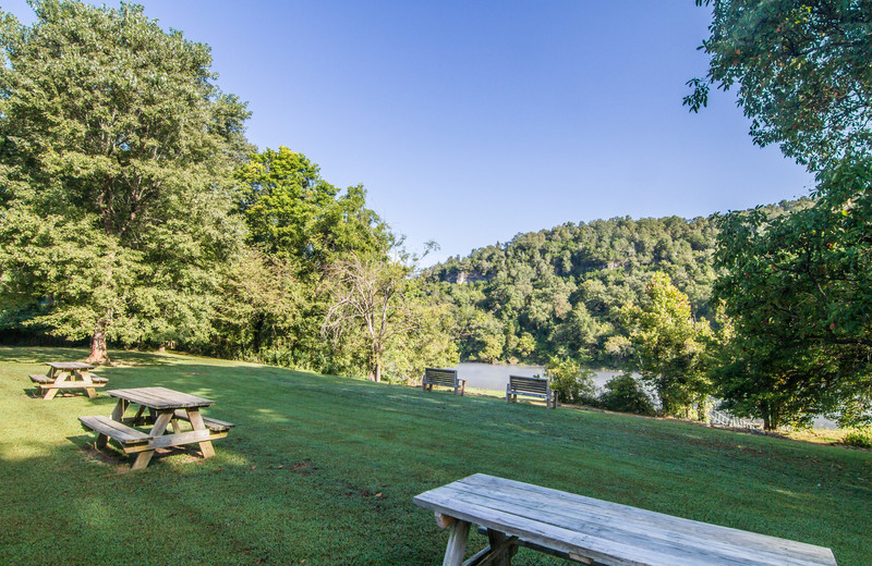 Picnic area at Fulton's Lodge on the White River.