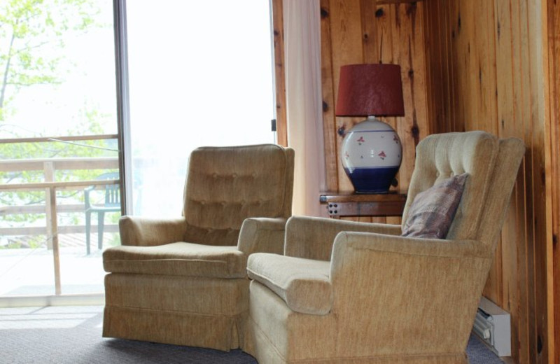 Cabin living room at Muskego Point Resort.