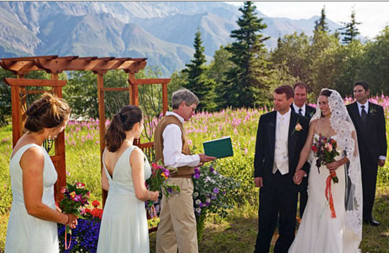 Wedding couple at Majestic Valley Lodge.
