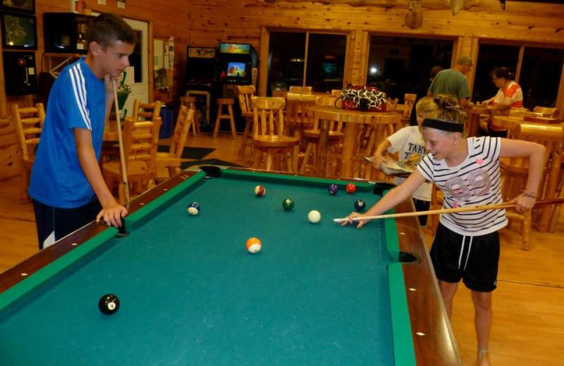 Game room at Hyde-A-Way Bay Resort.