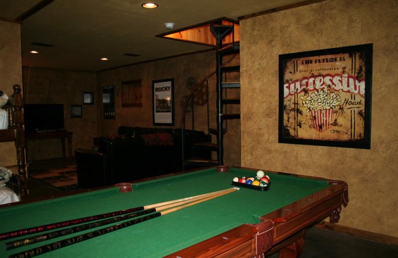Game room at Lake Mountain Cabins.
