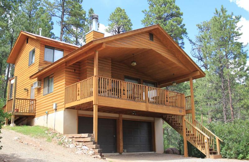 Cabin exterior at Pine River Lodge.