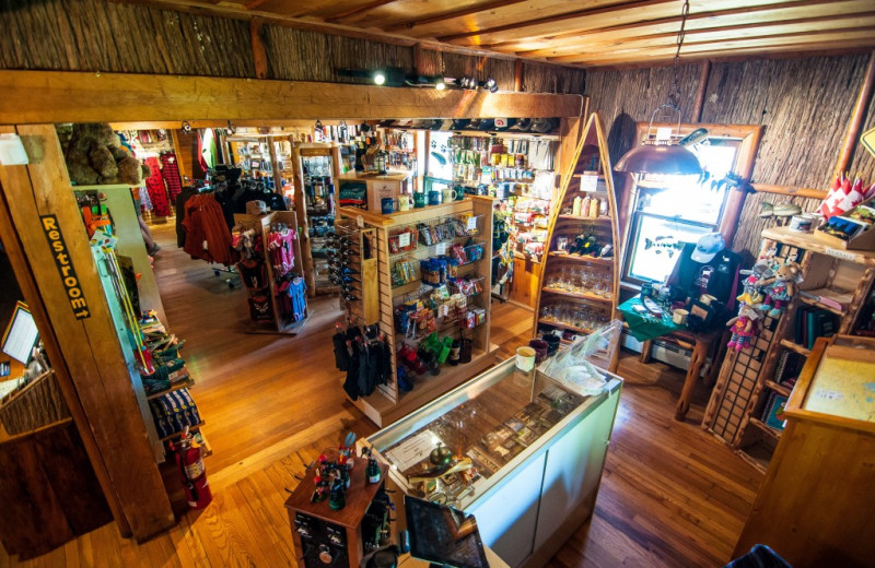 Gift shop at Clearwater Historic Lodge & Canoe Outfitters.