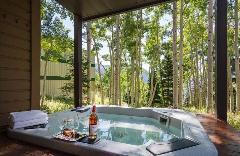 Rental hot tub at Canyon Services Vacation Rentals.