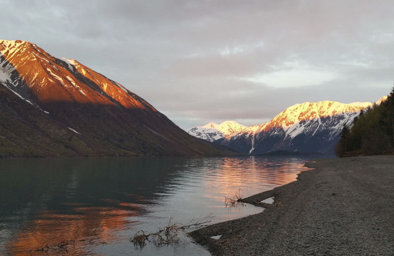 Mountain view at Gwin's Lodge & Kenai Peninsula Charter Booking Service.