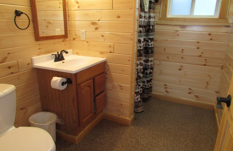 Cabin bathroom at Pine Aire Resort.