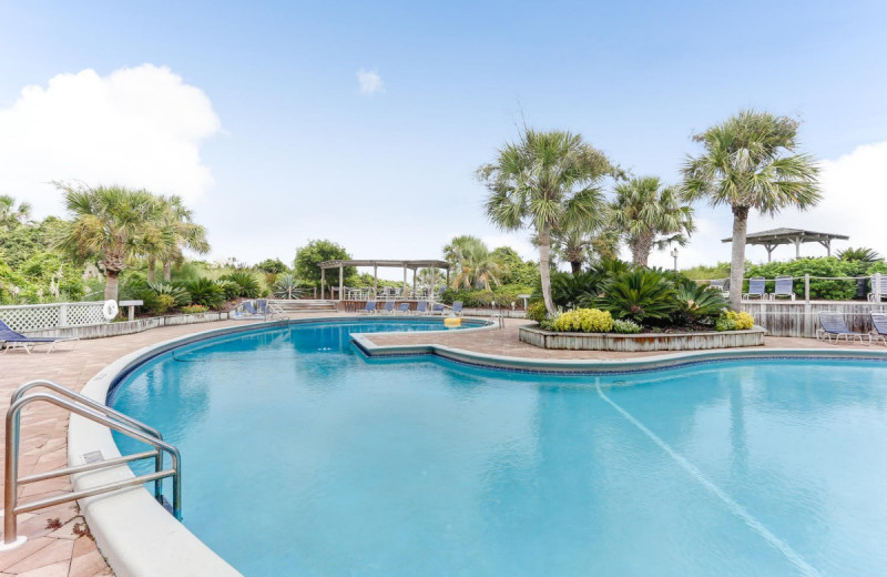Rental outdoor pool at Amelia Rentals and Management Services.
