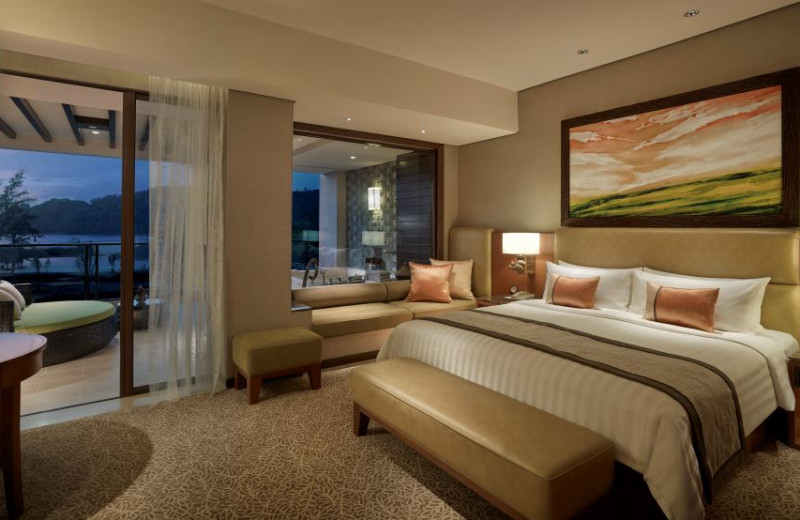 Guest room at Shangri-La's Rasa Ria Resort.
