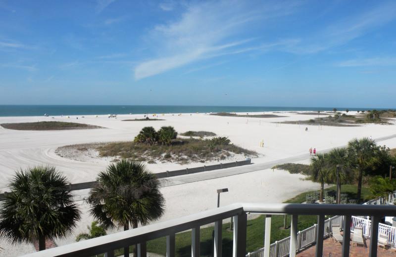 Balcony view of beach at Sunsational Beach Rentals. LLC.