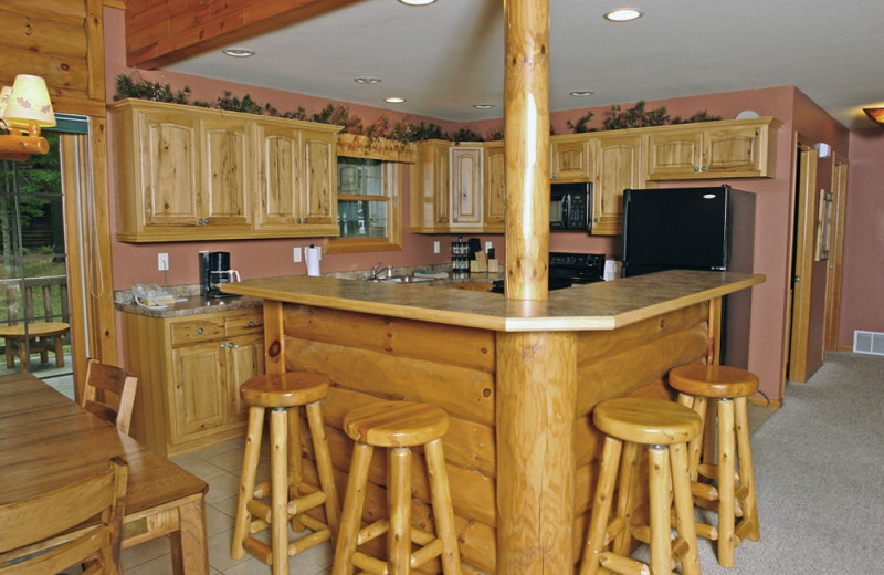 Cabin kitchen at The Beacons of Minocqua.