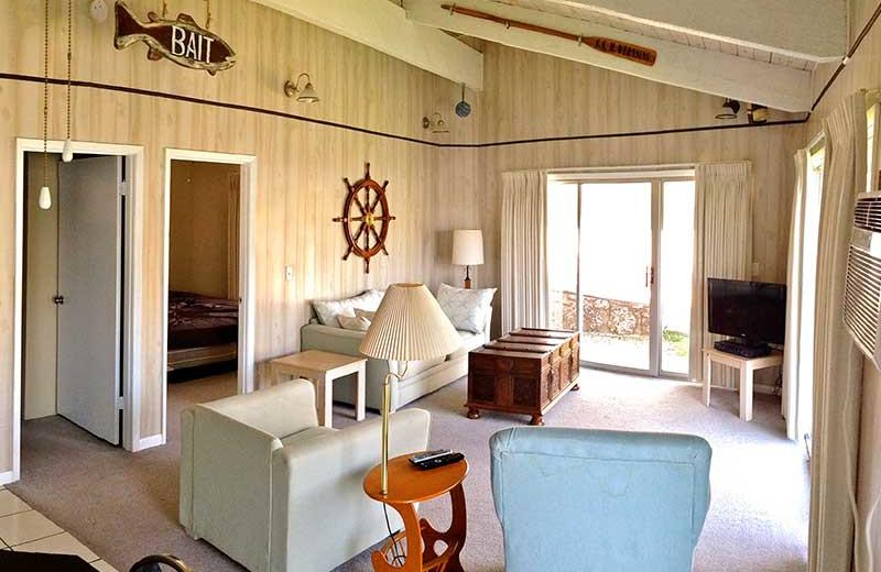 Cabin living room at Bass Point Resort.