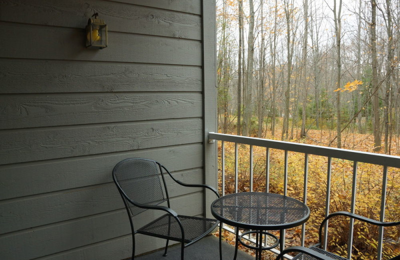 Guest balcony at Waterbury Inn Condominium Resort.