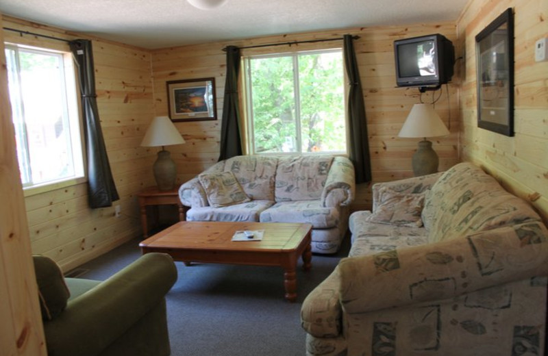 Cabin living room at Lincolnwood Resort & Bar.