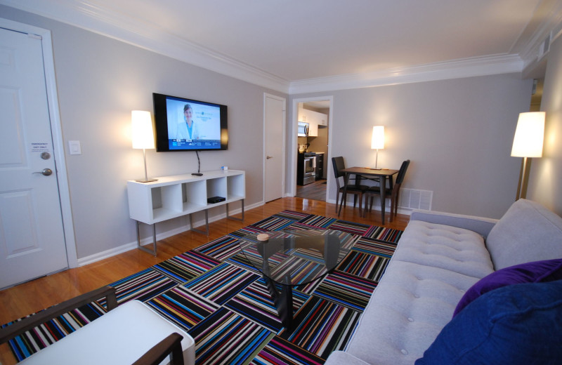 Guest living room at BCA Furnished Apartments.