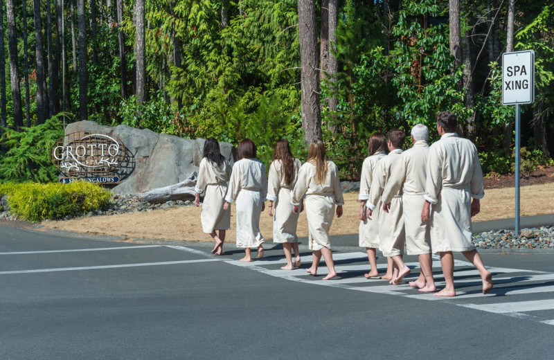 Group going to the spa at Tigh-Na-Mara Resort.