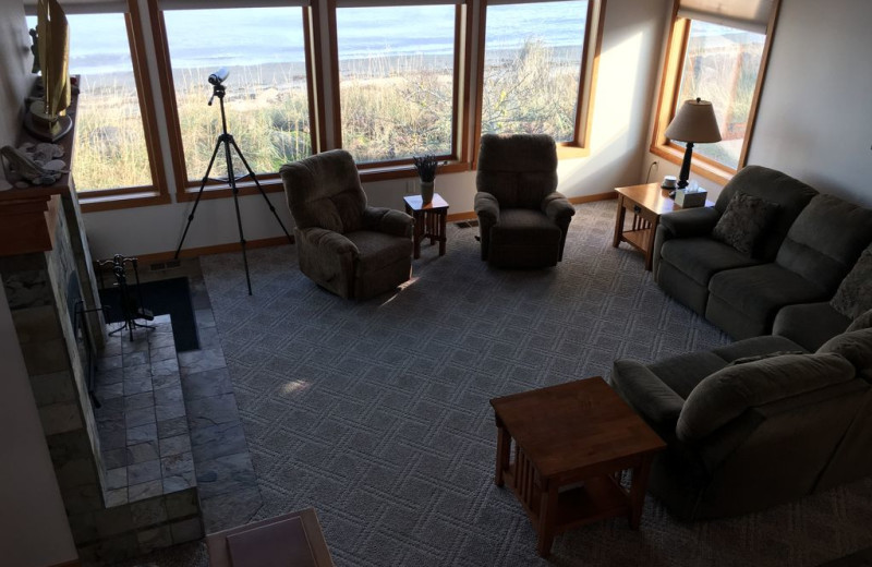Living room at Dungeness Beach Retreat.