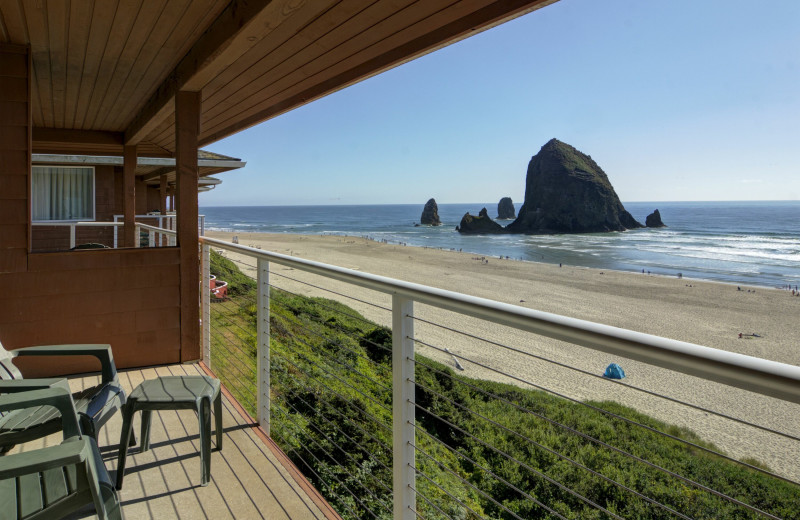 Guest balcony at Hallmark Resort & Spa Cannon Beach.