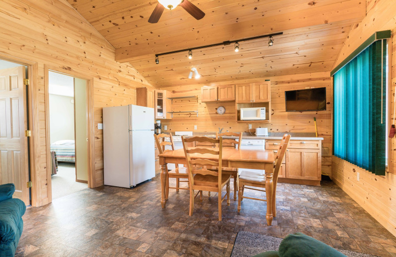 Cabin kitchen at Otter Tail Beach Resort.