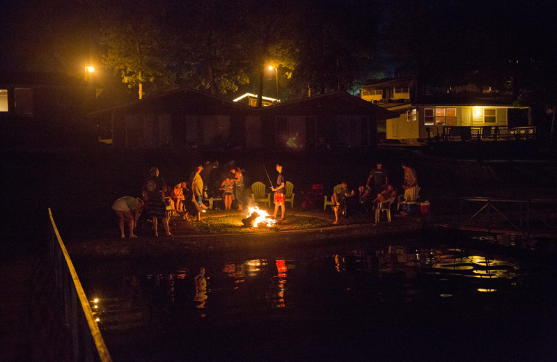 Bonfire at Bass Point Resort.