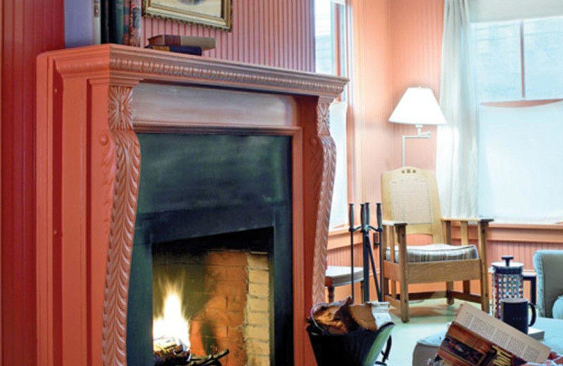Fire place at The Porches Inn.