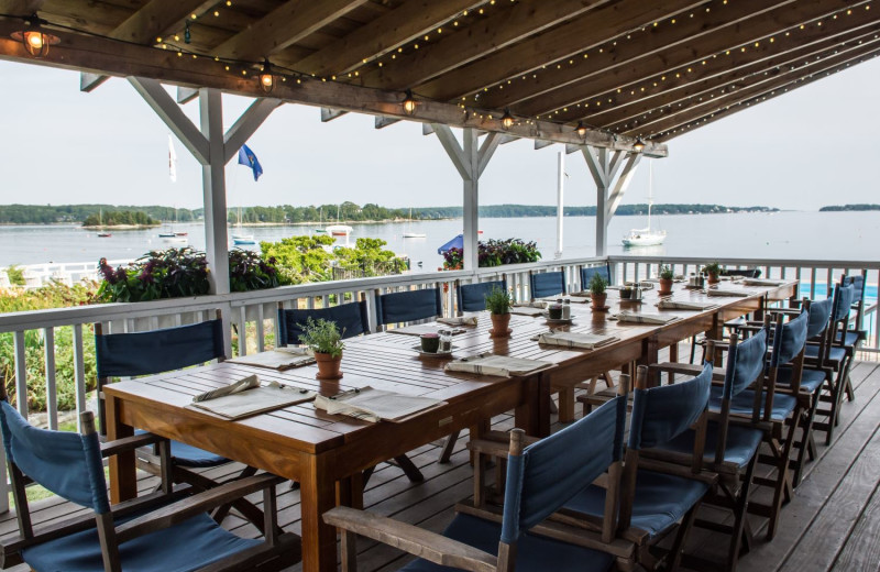 Patio dining at Linekin Bay Resort.