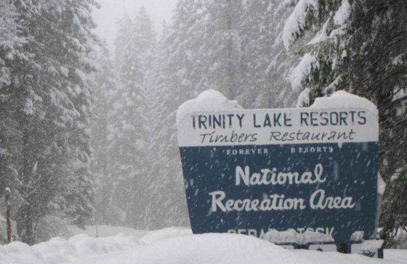 Trinity Lake sign.