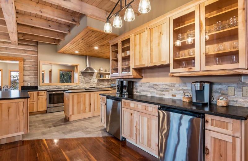 Rental kitchen at Stony Brook Cabins LLC.