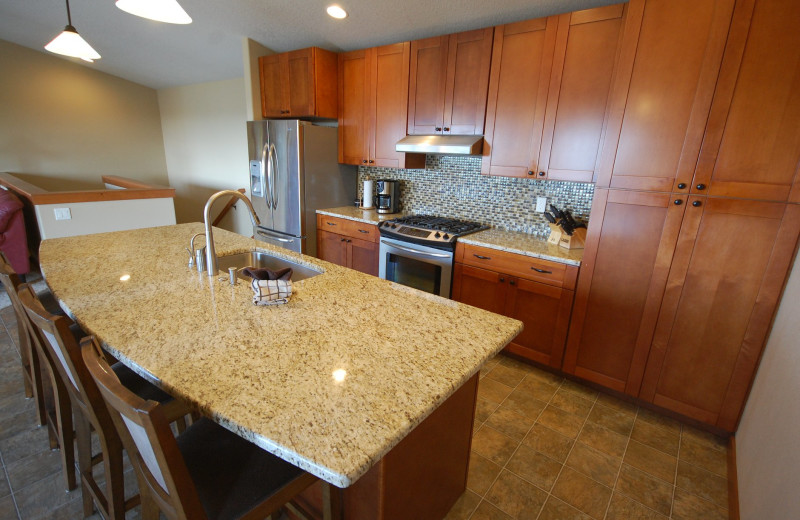 Rental kitchen at Shorepine Vacation Rentals.