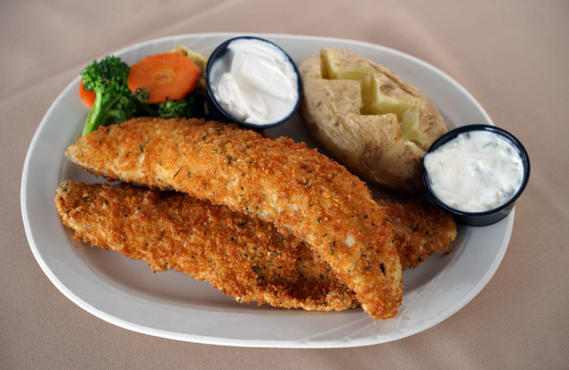 Delicious fried walleye is available at the on-site restaurant, the Carrington Pub & Grill