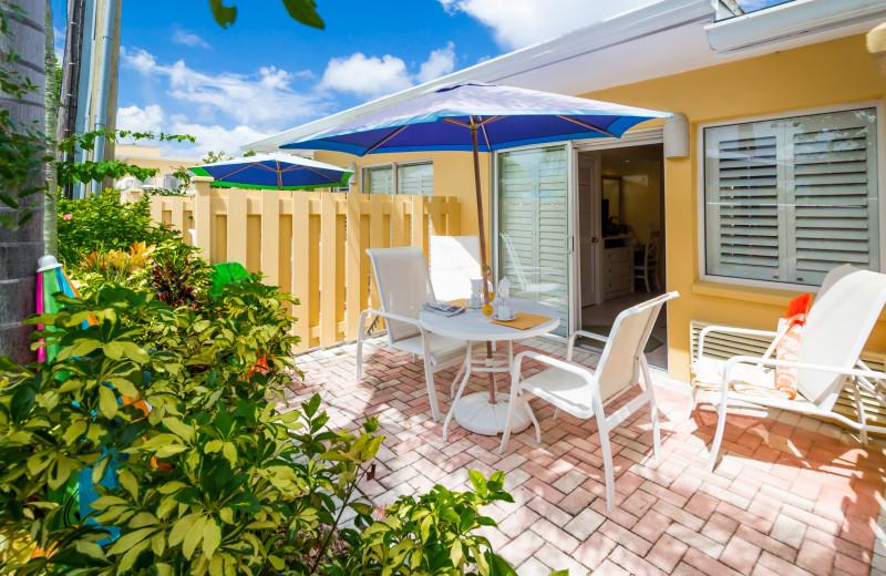 Guest patio at Inn At The Beach Resort.