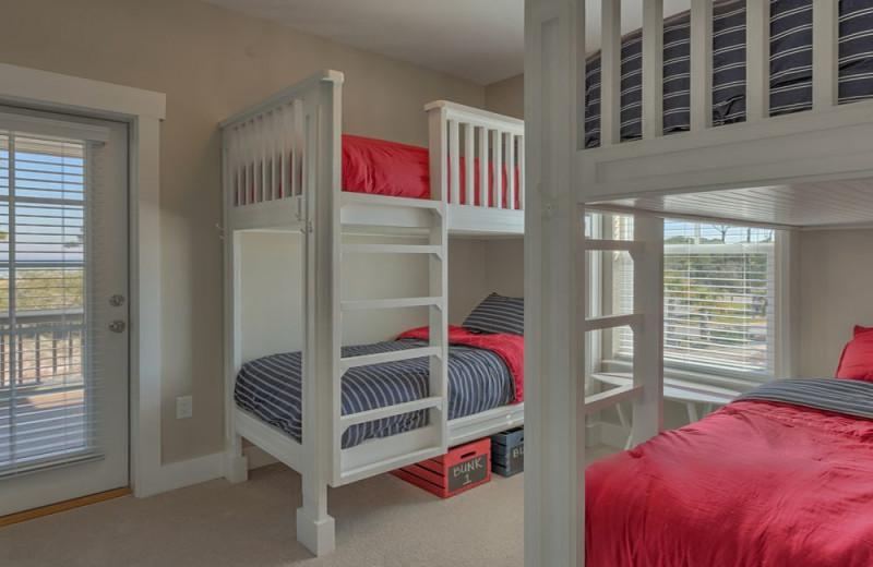 Rental bedroom at No Worries Vacation Rentals.