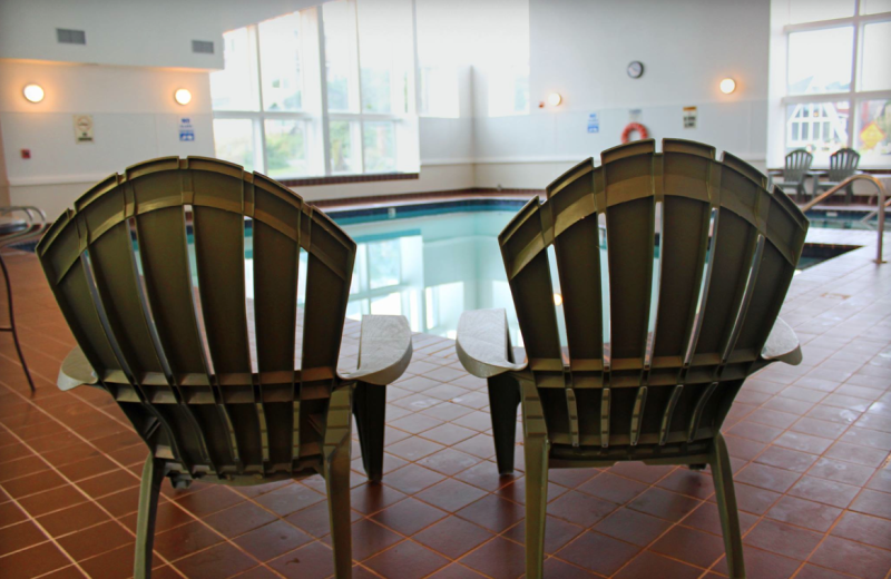 Indoor pool chairs at Hallmark Resort in Newport.