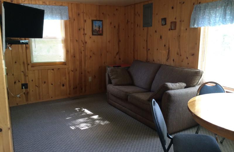 Cabin living room at Arnesen's Rocky Point Resort.
