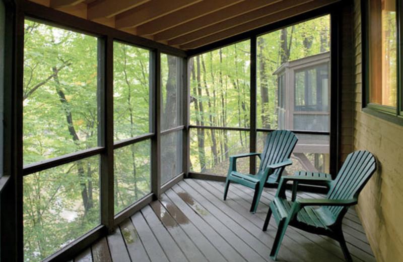Patio view at Wyndham Vacation Resorts Shawnee Village.
