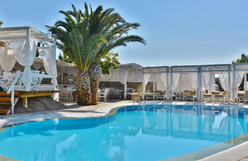 Outdoor pool at Zephyros Hotel on Paraga Beach.