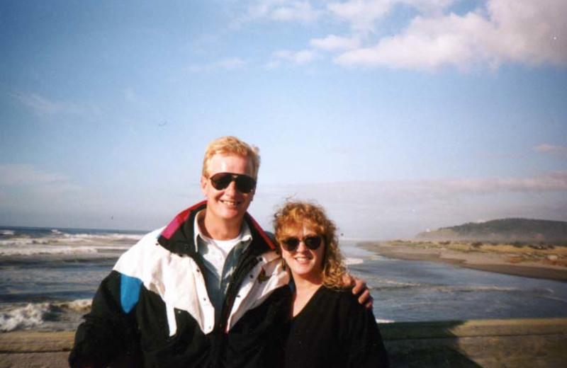 Couple on honeymoon at Oceanfront Getaways