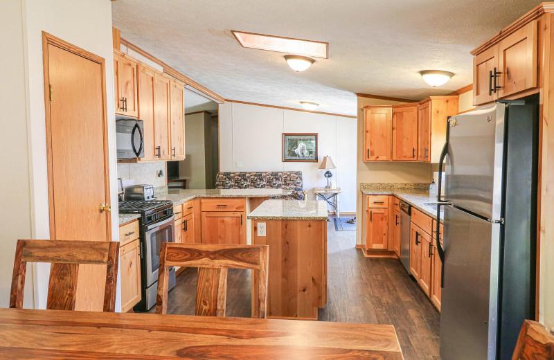 Cabin kitchen at Sand Lake Resort.