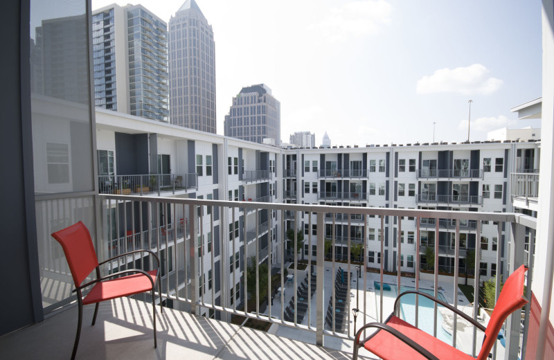 Guest balcony at BCA Furnished Apartments.