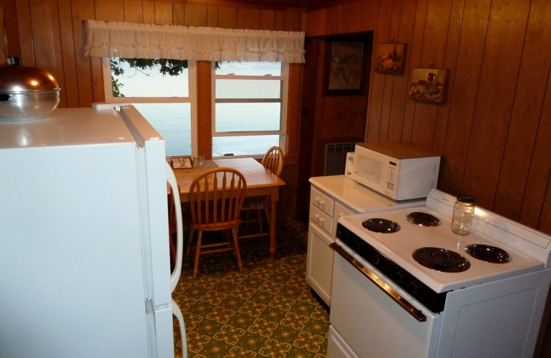 Cabin kitchen at Slack's Edgewater Beach Resort.
