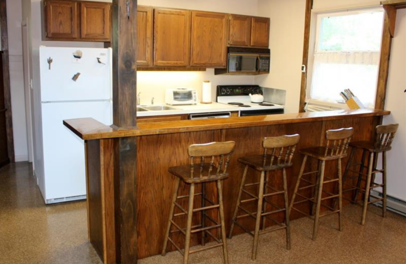Rental kitchen at Saco Bay Rentals.