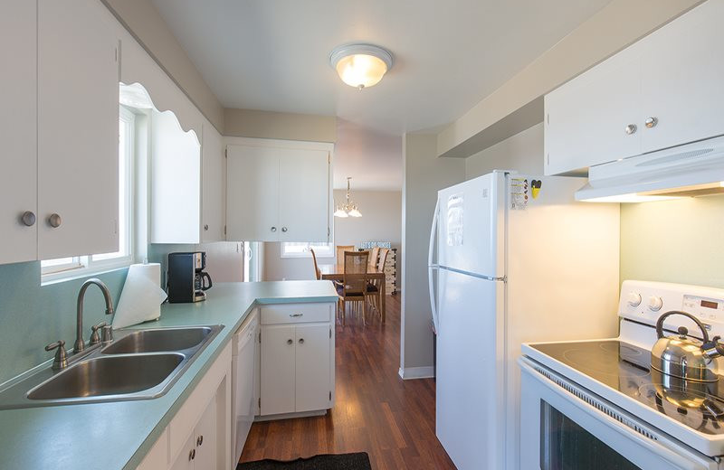 Rental kitchen at Sequim Valley Properties.