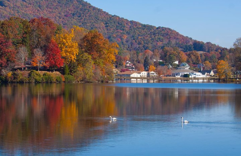 Fall brings majestic colors to the mountains around Lake Junaluska Conference and Retreat Center.