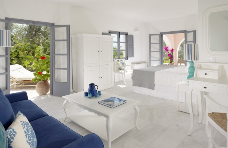 Guest room at Vedema Resort Santorini.