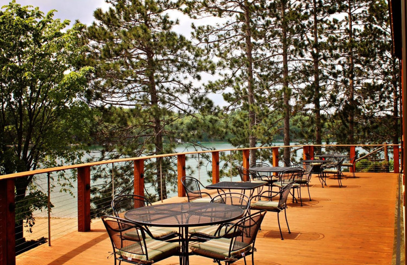 Deck patio at Sojourn Lakeside Resort.