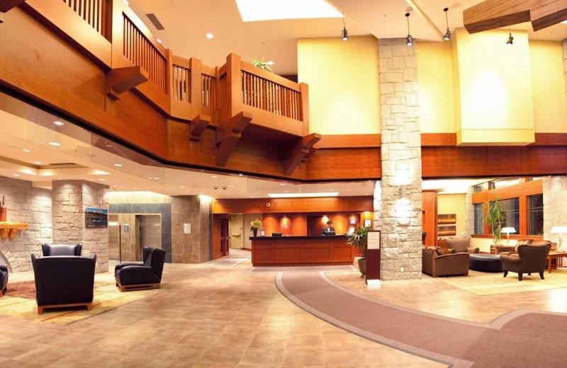The lobby at Crystal Lodge.