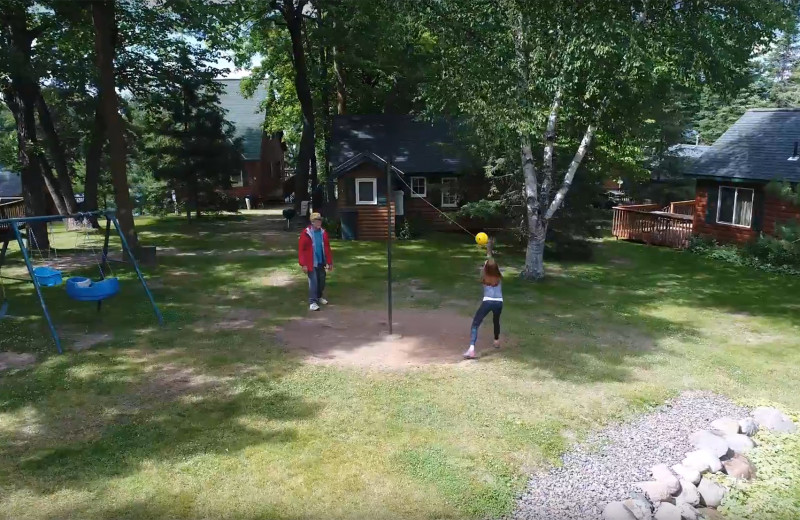 Tether ball at Woodland Beach Resort.