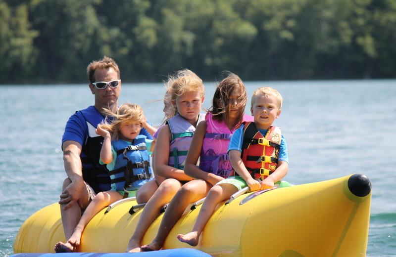 Family on banana boat at East Silent Resort.