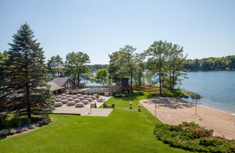 Beach and patio at Sojourn Lakeside Resort.