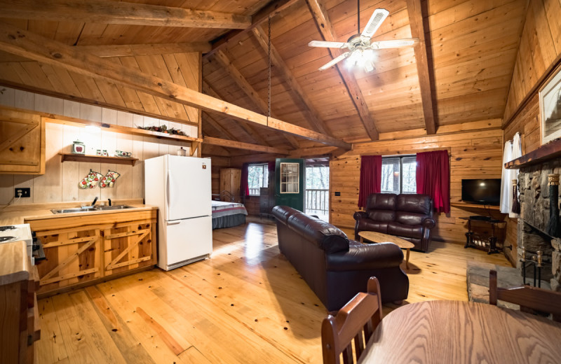 Cabin interior at Buffalo River Outfitters.